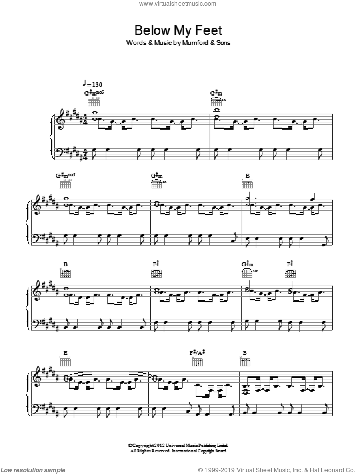 Below My Feet sheet music for voice, piano or guitar by Mumford & Sons. Score Image Preview.