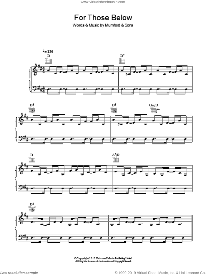 For Those Below sheet music for voice, piano or guitar by Mumford & Sons, intermediate. Score Image Preview.