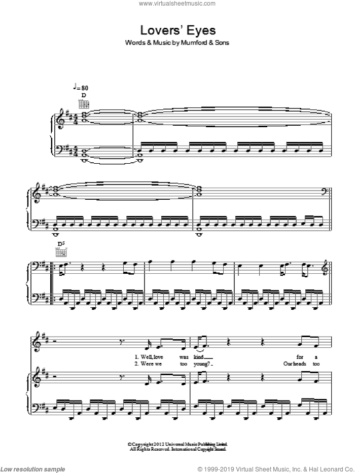 Lovers' Eyes sheet music for voice, piano or guitar by Mumford & Sons, intermediate skill level