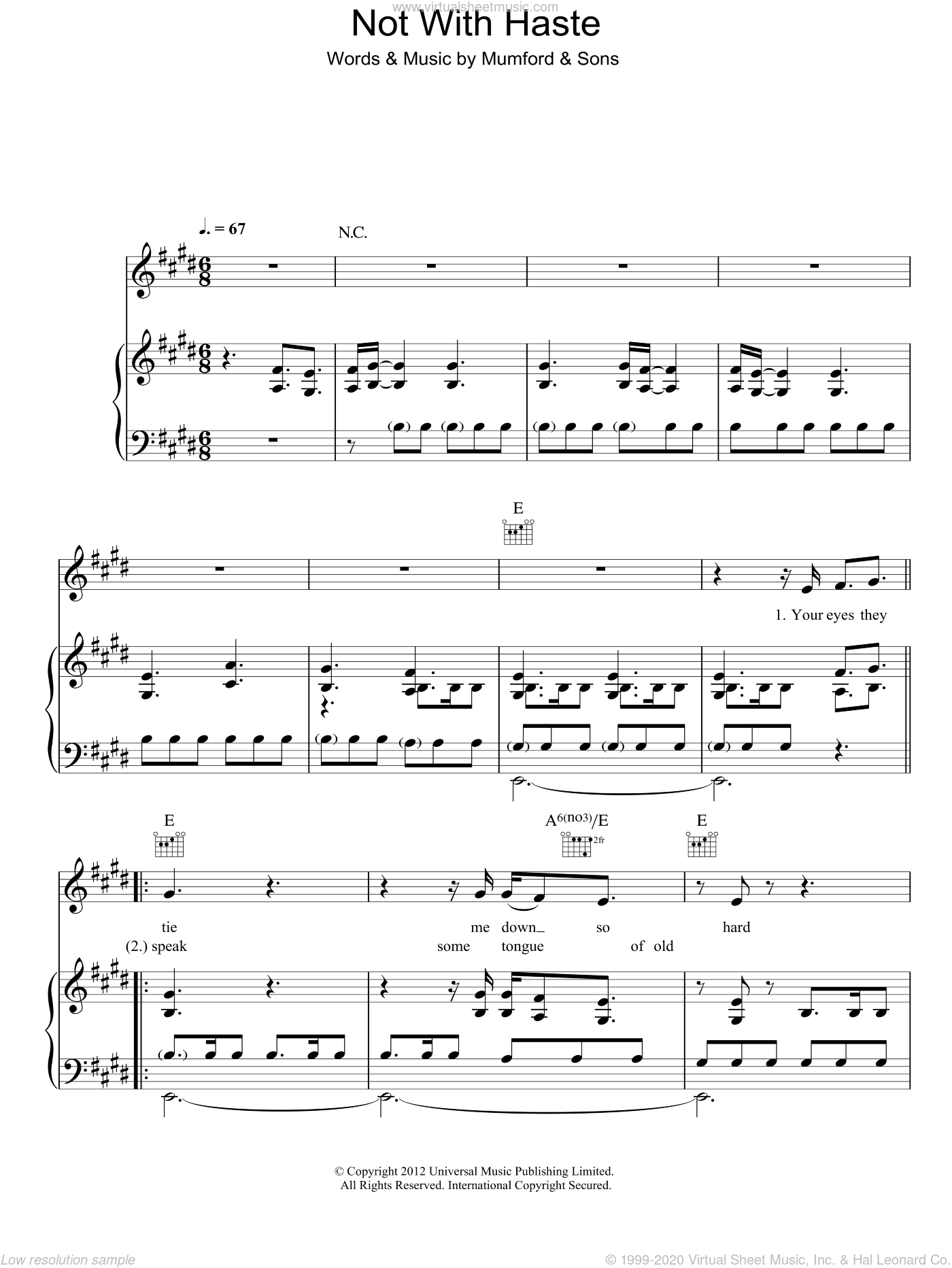 Not With Haste sheet music for voice, piano or guitar by Mumford & Sons. Score Image Preview.
