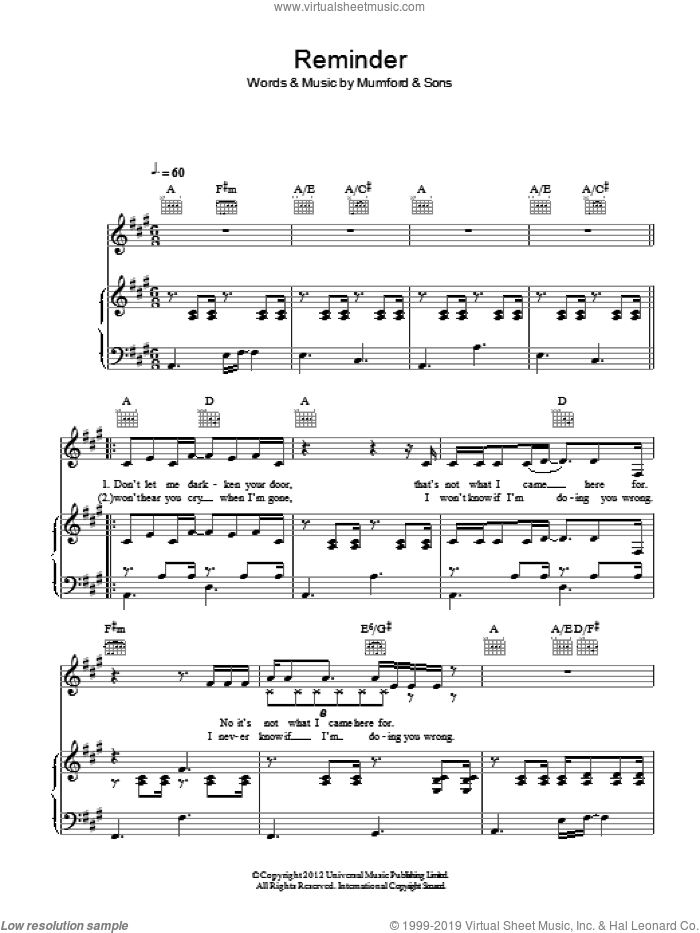 Reminder sheet music for voice, piano or guitar by Mumford & Sons. Score Image Preview.