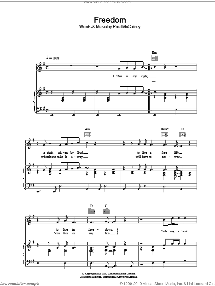 Freedom sheet music for voice, piano or guitar by Paul McCartney, intermediate skill level