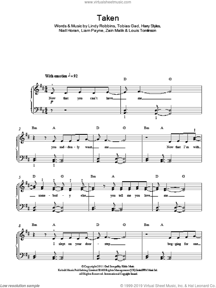 Taken sheet music for piano solo by One Direction, Harry Styles, Liam Payne, Lindy Robbins, Louis Tomlinson, Niall Horan, Toby Gad and Zain Malik, easy skill level