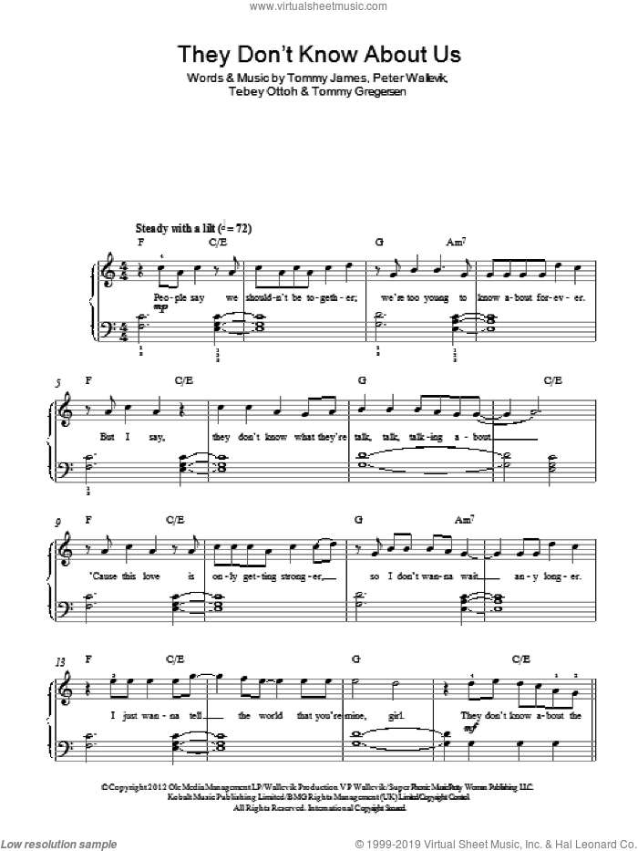 They Don't Know About Us sheet music for piano solo by One Direction, Peter Wallevik, Tebey Ottoh, Tommy Gregersen and Tommy James, easy skill level