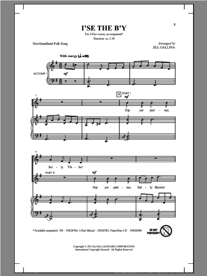 I's The B'y sheet music for choir and piano (duets) by Jill Gallina. Score Image Preview.