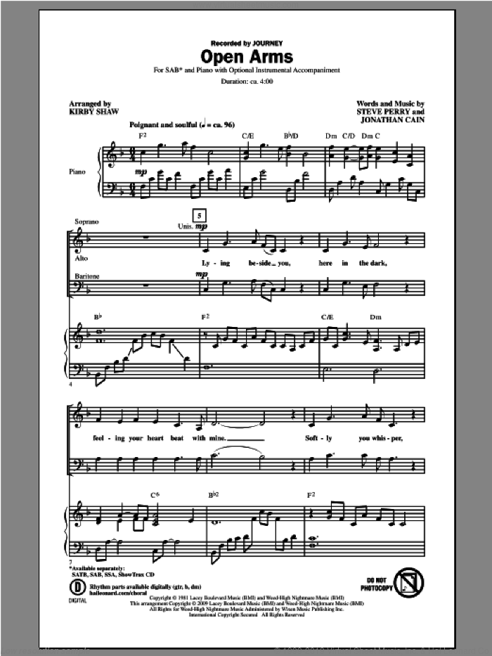 Open Arms sheet music for choir (SAB: soprano, alto, bass) by Kirby Shaw and Journey, intermediate. Score Image Preview.