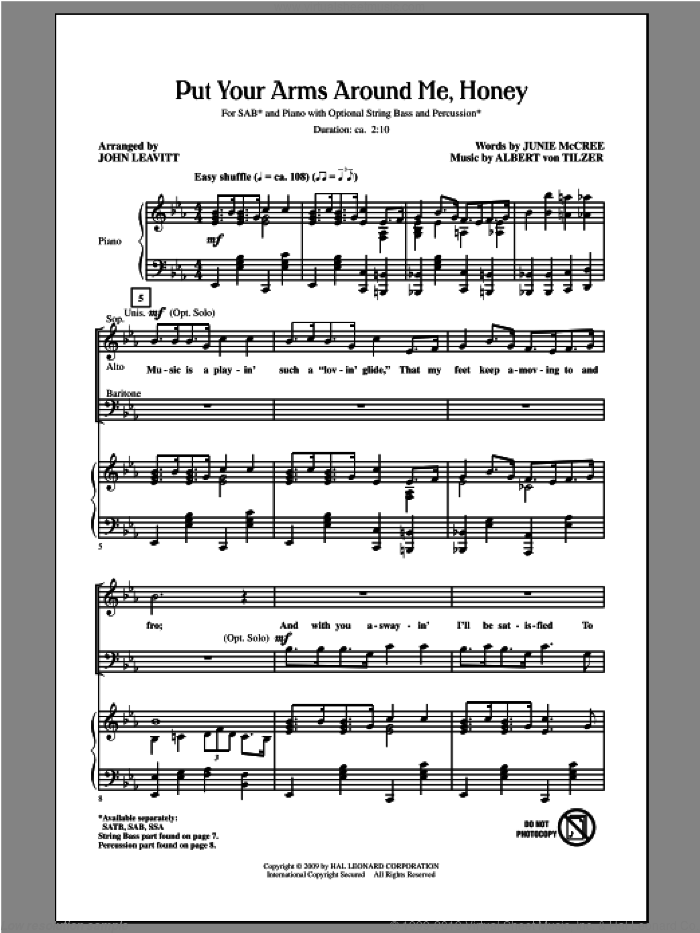 Put Your Arms Around Me, Honey sheet music for choir and piano (SAB) by John Leavitt