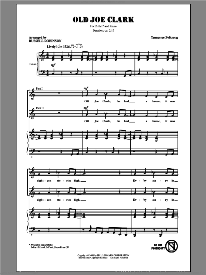 Old Joe Clark sheet music for choir (2-Part) by Russell Robinson, intermediate duet