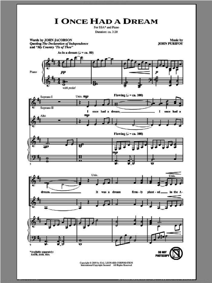 I Once Had A Dream sheet music for choir (SSA: soprano, alto) by John Jacobson and John Purifoy, intermediate skill level
