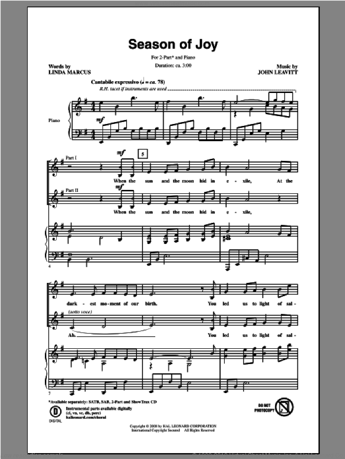 Season Of Joy sheet music for choir (duets) by Linda Marcus and John Leavitt. Score Image Preview.