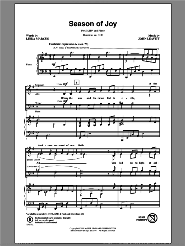 Season Of Joy sheet music for choir (SATB) by Linda Marcus and John Leavitt. Score Image Preview.