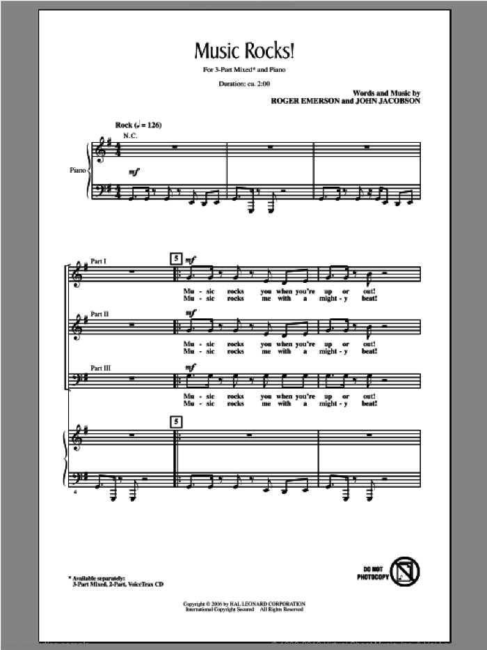 Music Rocks! sheet music for choir (chamber ensemble) by John Jacobson and Roger Emerson. Score Image Preview.