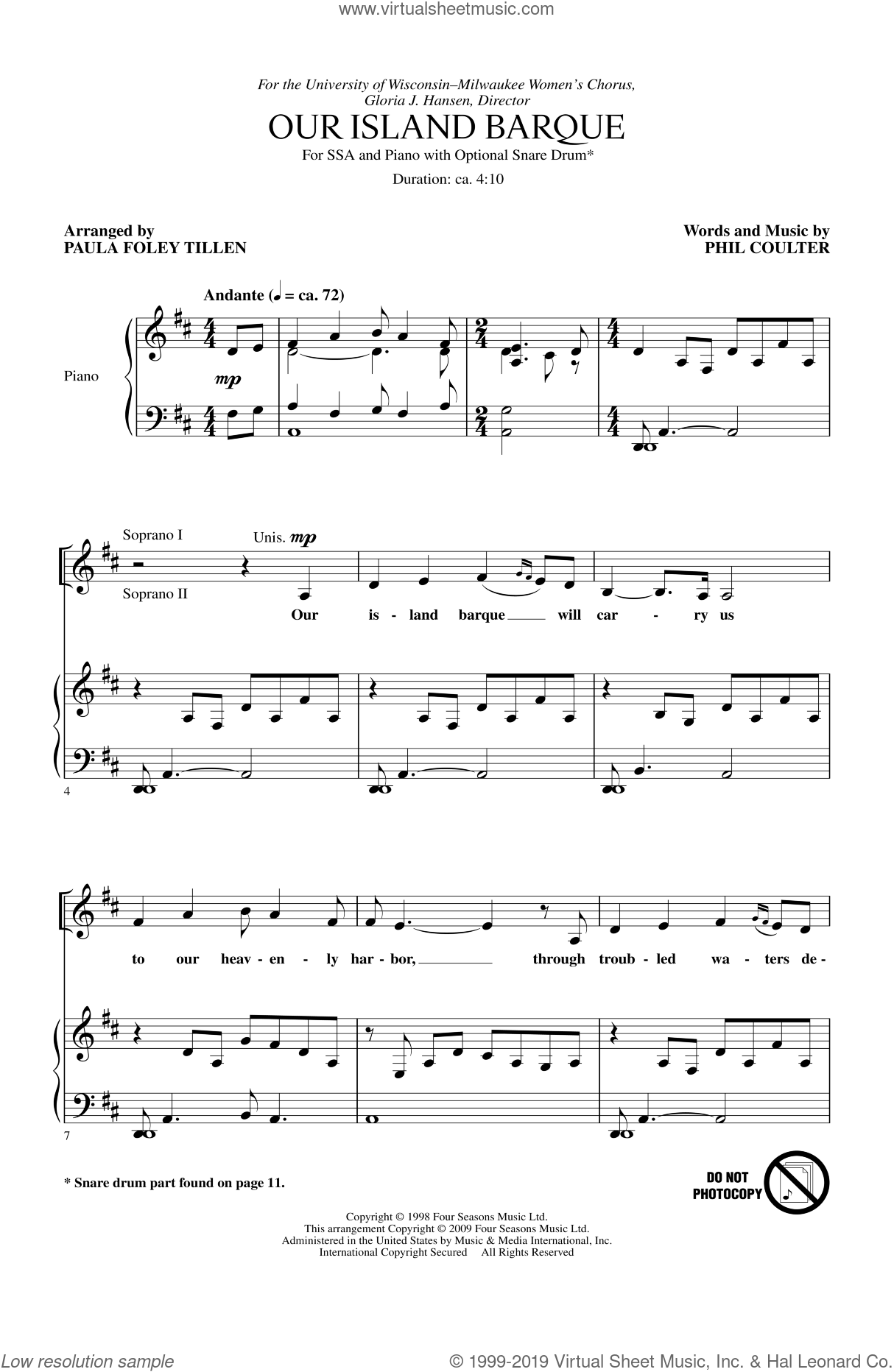 Our Island Barque sheet music for choir and piano (SSA) by Paula Foley Tillen