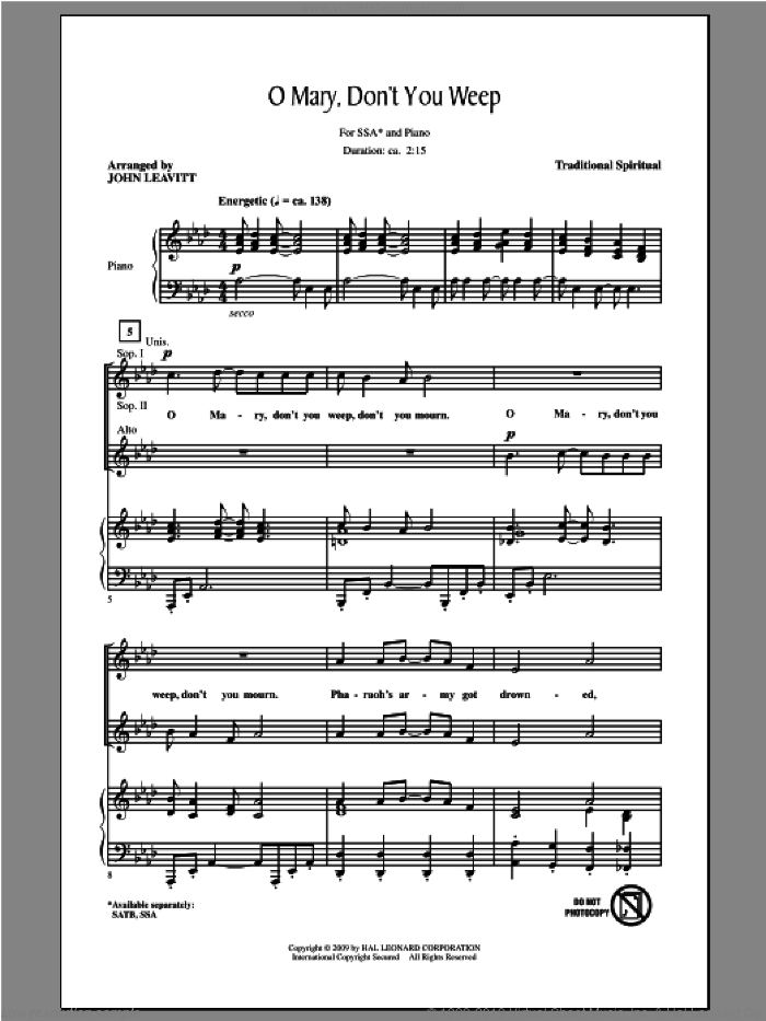 Oh Mary Don't You Weep sheet music for choir and piano (SSA) by John Leavitt. Score Image Preview.