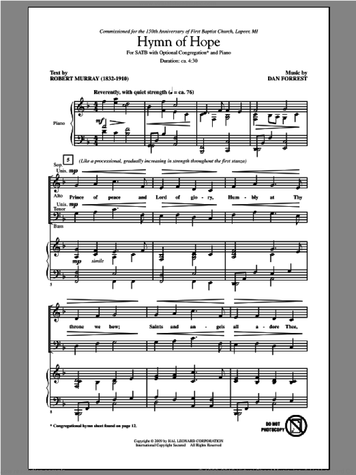 Hymn Of Hope sheet music for choir (SATB) by Dan Forrest. Score Image Preview.