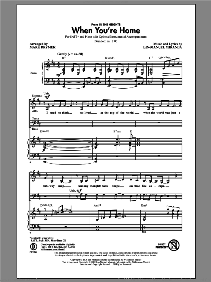When You're Home (from In The Heights) sheet music for choir (SATB) by Mark Brymer. Score Image Preview.