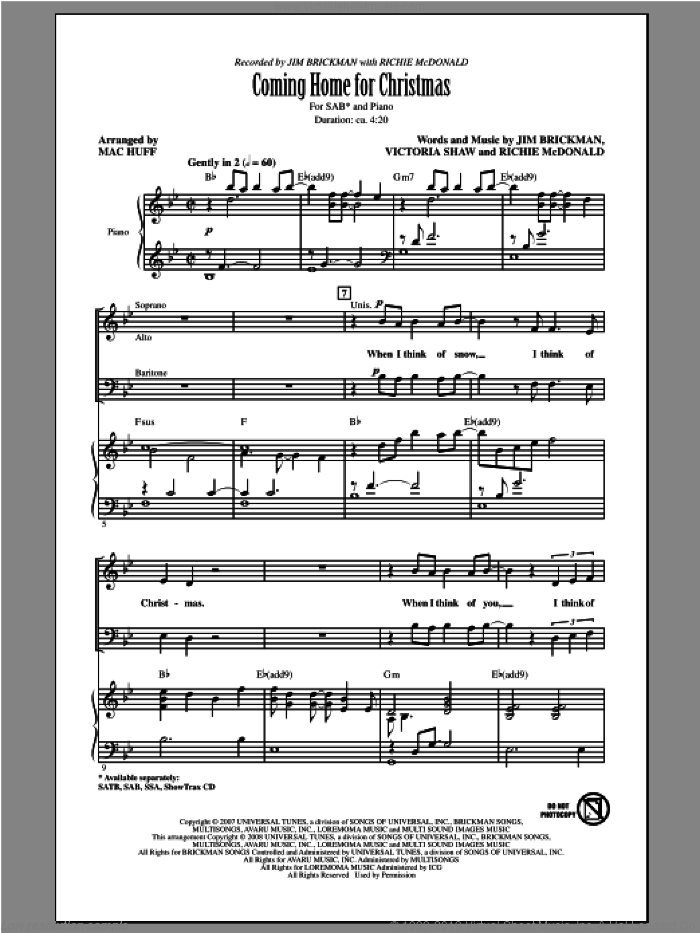Coming Home For Christmas sheet music for choir (SAB: soprano, alto, bass) by Mac Huff and Jim Brickman, intermediate