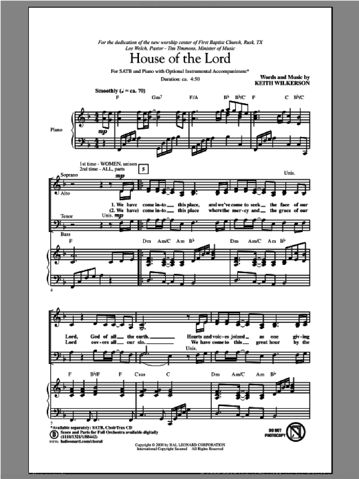 House Of The Lord sheet music for choir and piano (SATB) by Keith Wilkerson. Score Image Preview.
