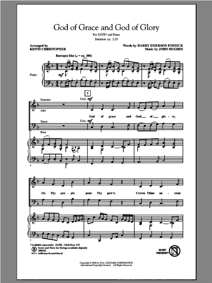 God Of Grace And God Of Glory sheet music for choir and piano (SATB) by Keith Christopher. Score Image Preview.