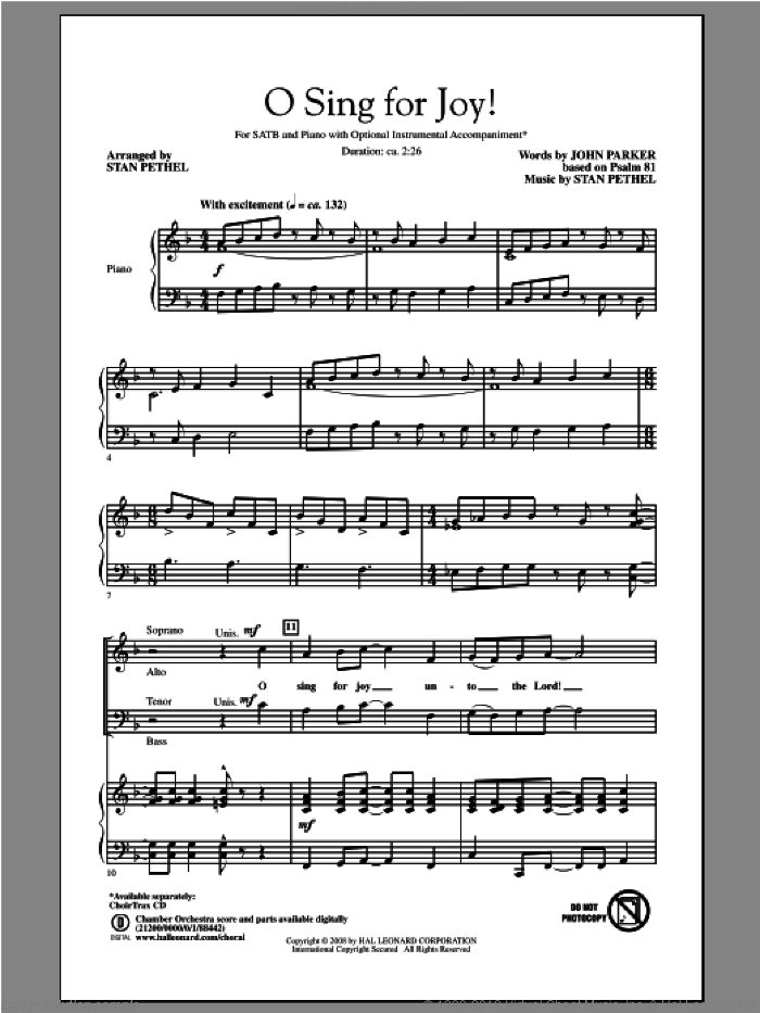 O Sing For Joy! sheet music for choir (SATB) by John Parker and Stan Pethel, intermediate. Score Image Preview.
