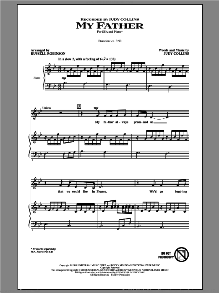 My Father sheet music for choir and piano (SSA) by Judy Collins and Russell Robinson. Score Image Preview.