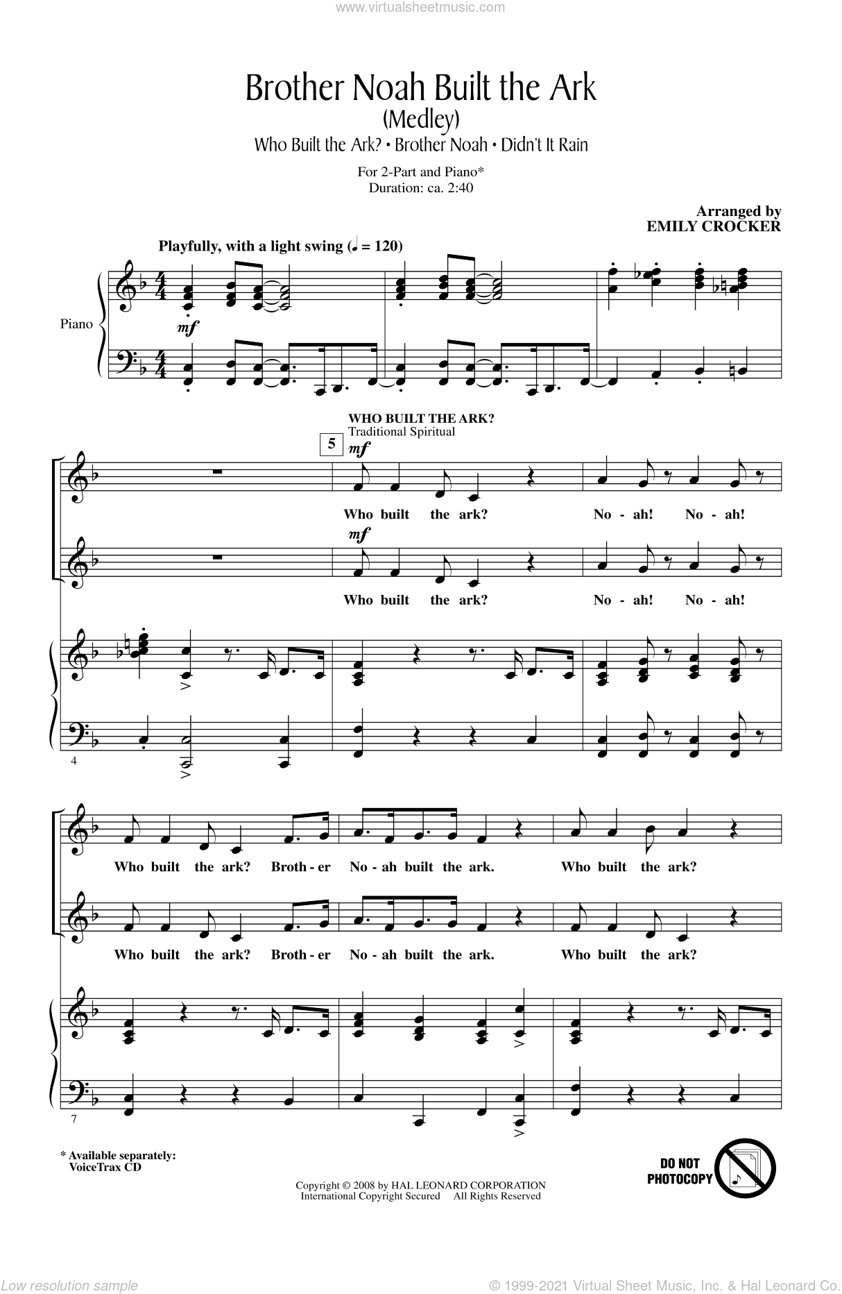Brother Noah Built The Ark sheet music for choir (duets) by Emily Crocker, intermediate duet. Score Image Preview.