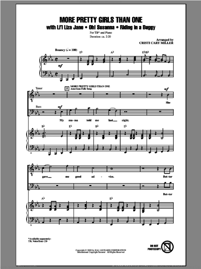 More Pretty Girls Than One sheet music for choir and piano (TB) by Cristi Cary Miller