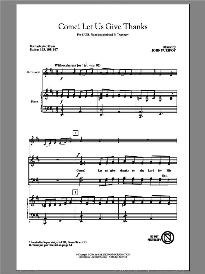 Come! Let Us Give Thanks sheet music for choir and piano (SATB) by John Purifoy. Score Image Preview.