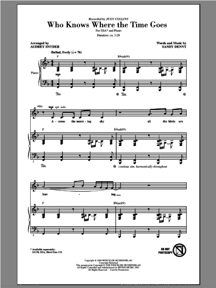 Who Knows Where The Time Goes sheet music for choir and piano (SSA) by Audrey Snyder and Judy Collins. Score Image Preview.