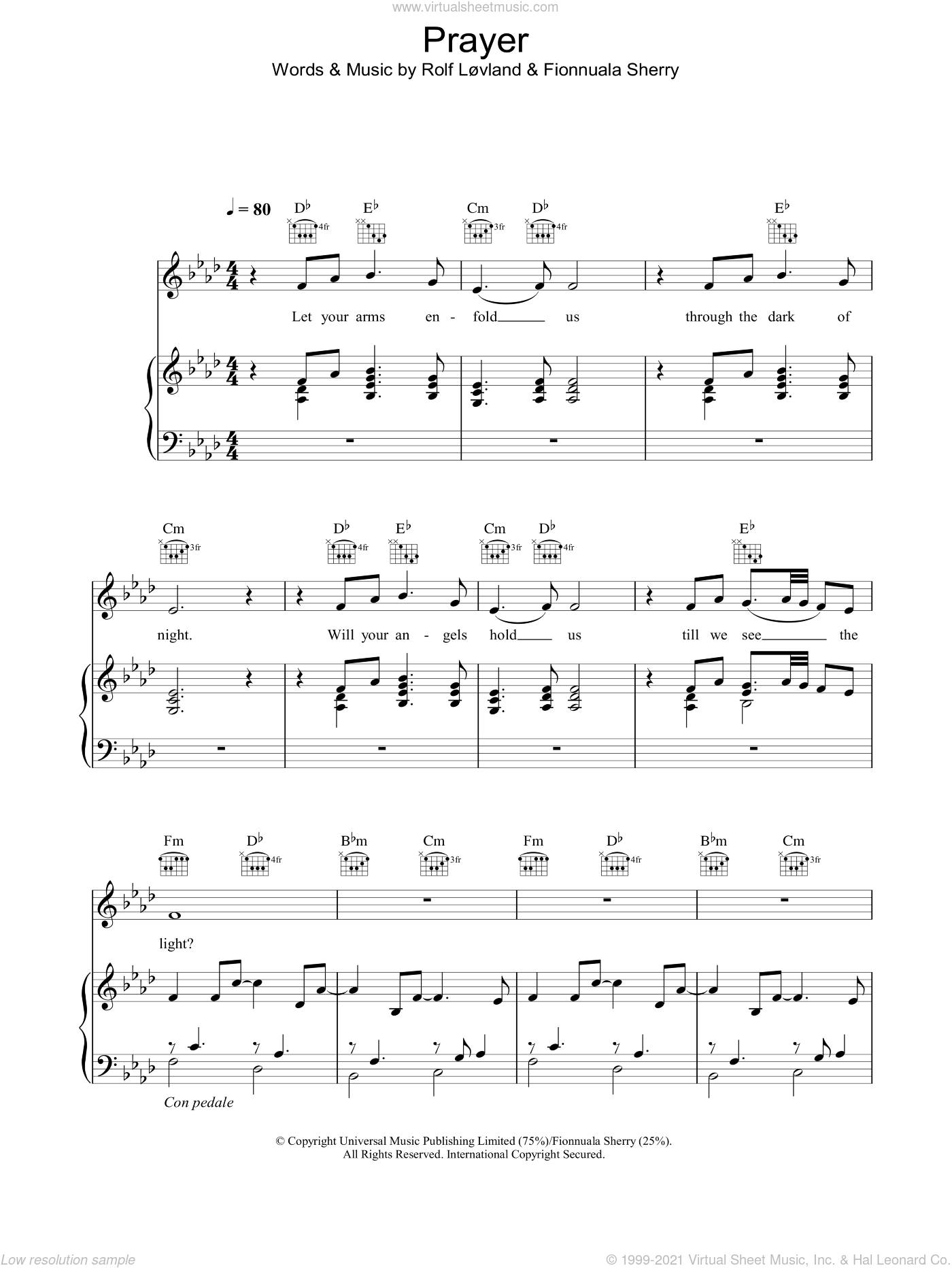 Prayer sheet music for voice, piano or guitar by Rolf Løvland, Hayley Westenra and Rolf Lovland. Score Image Preview.