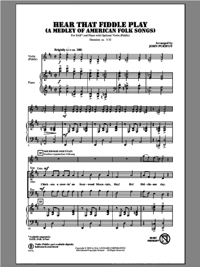Hear That Fiddle Play (A Medley of American Folk Songs) sheet music for choir and piano (SAB) by John Purifoy. Score Image Preview.