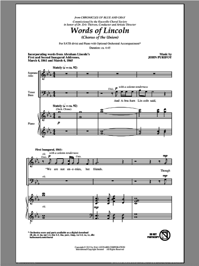 Words Of Lincoln (Chorus of the Union) sheet music for choir and piano (SATB) by John Purifoy. Score Image Preview.