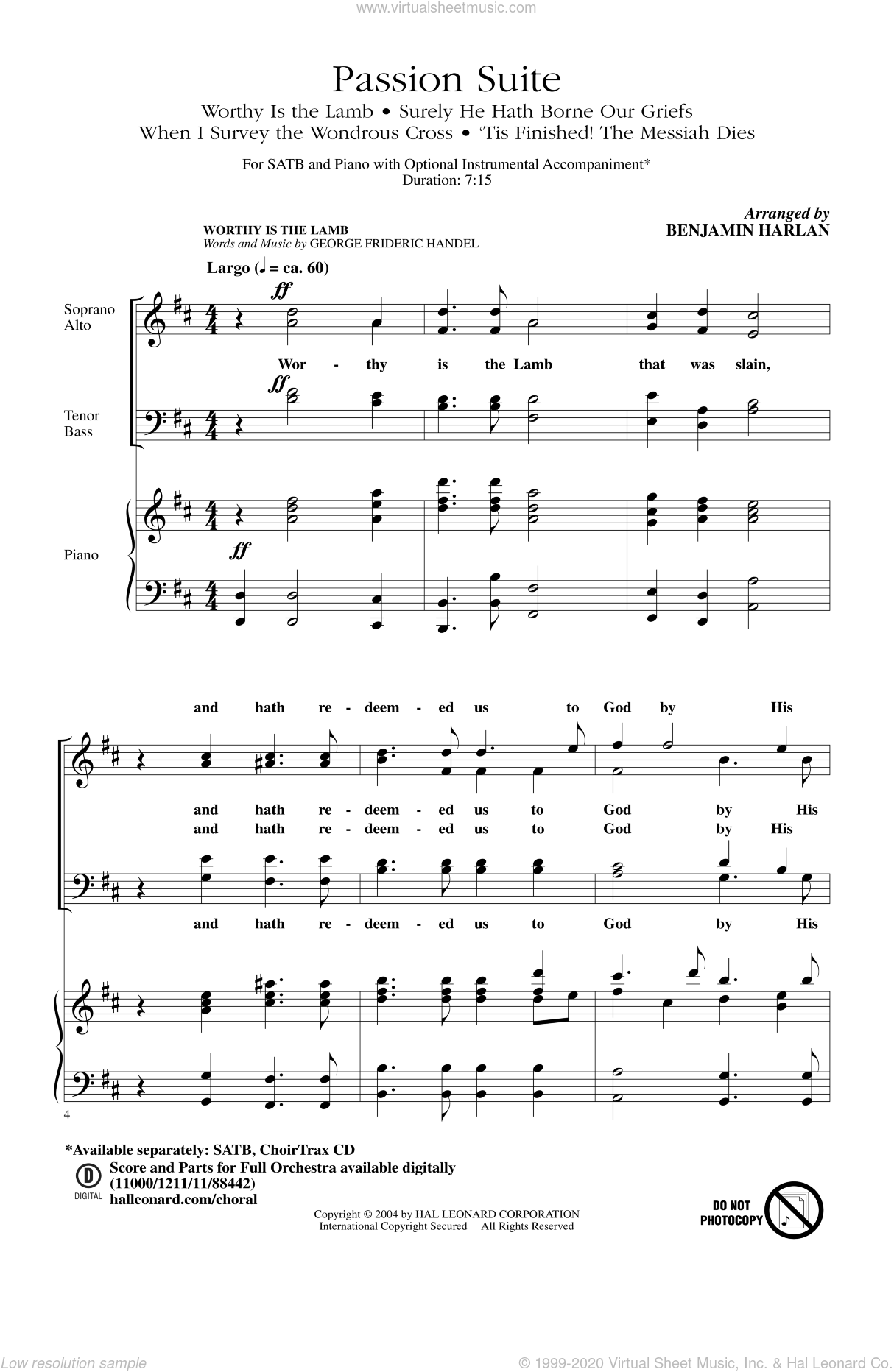 Passion Suite sheet music for choir (SATB) by Benjamin Harlan. Score Image Preview.