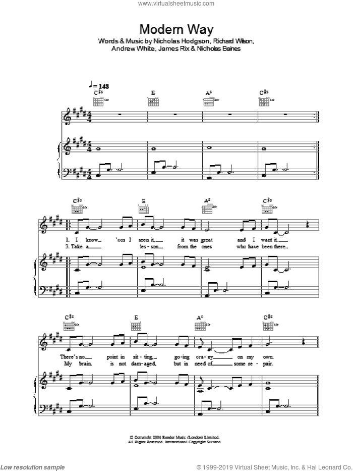 Modern Way sheet music for voice, piano or guitar by Richard Wilson, Andrew White and Nicholas Hodgson. Score Image Preview.