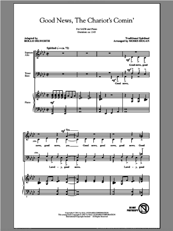 Good News, The Chariot's Comin' sheet music for choir (SATB) by Moses Hogan. Score Image Preview.