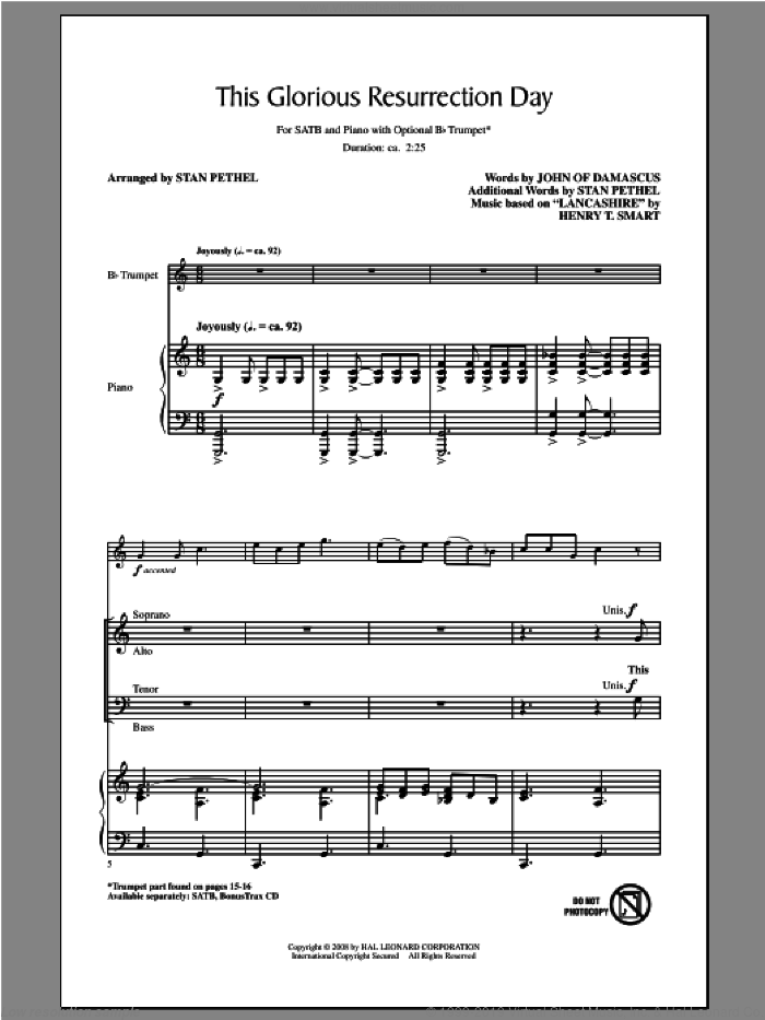 This Glorious Resurrection Day sheet music for choir (SATB) by Stan Pethel. Score Image Preview.