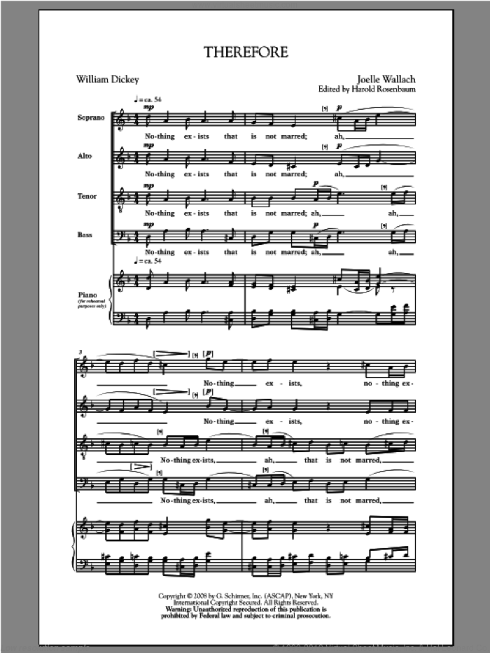 Therefore sheet music for choir (SATB) by Joelle Wallach, intermediate choir (SATB). Score Image Preview.