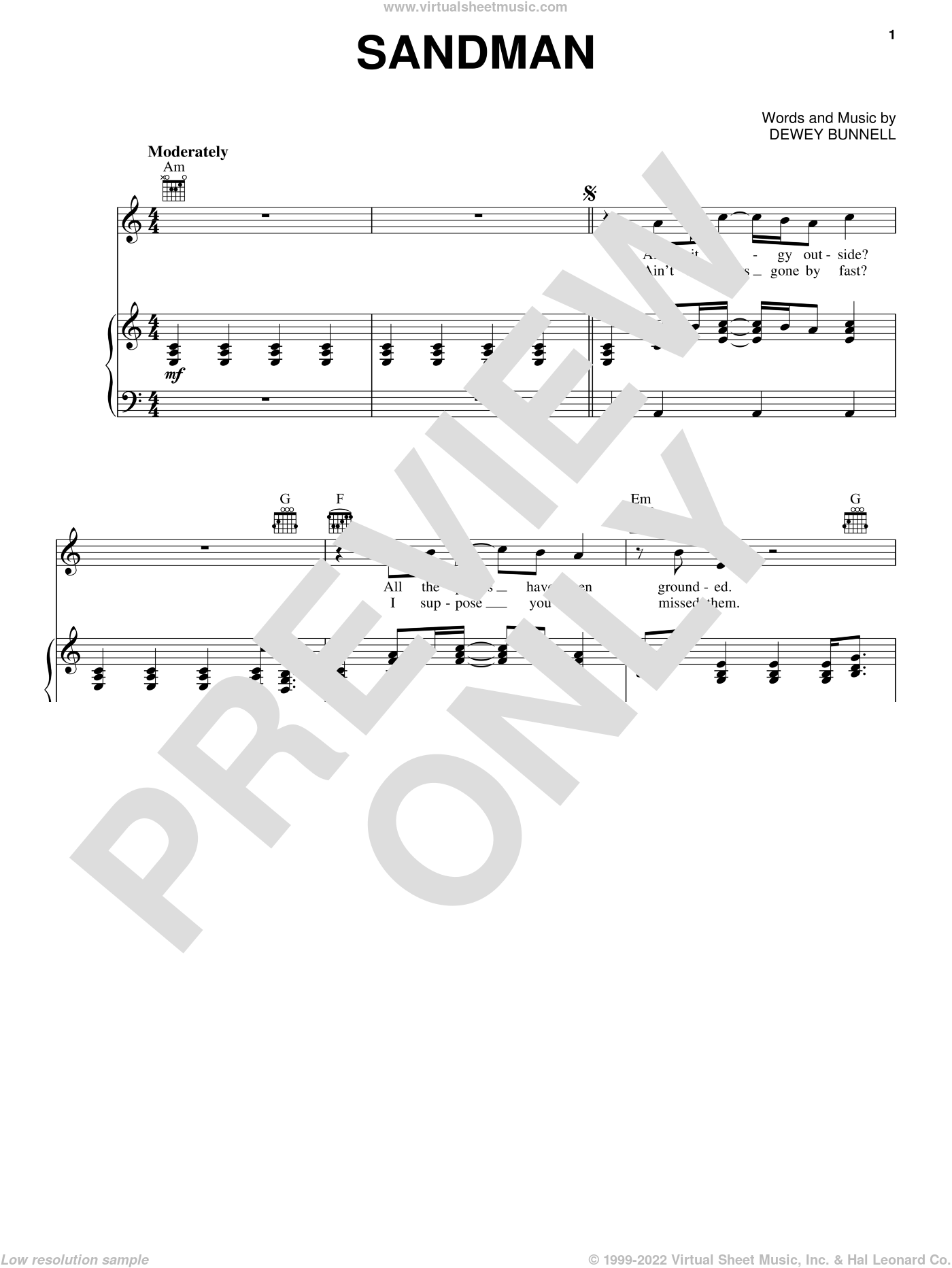 Sandman sheet music for voice, piano or guitar by America, intermediate skill level