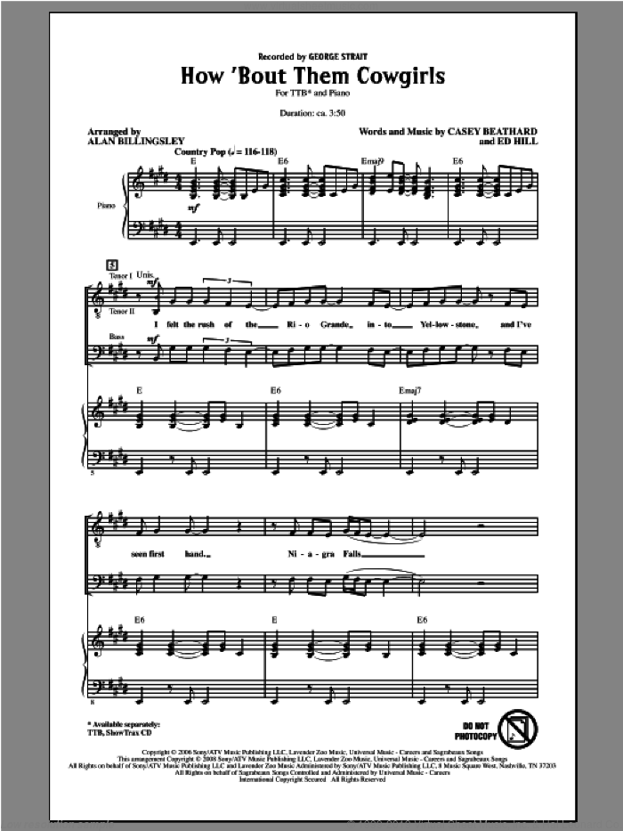 How 'Bout Them Cowgirls sheet music for choir (TTBB: tenor, bass) by Alan Billingsley and George Strait, intermediate skill level