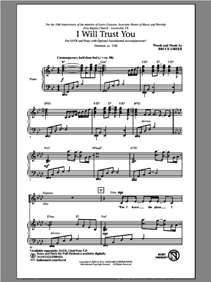 I Will Trust You sheet music for choir (SATB: soprano, alto, tenor, bass) by Bruce Greer, intermediate skill level