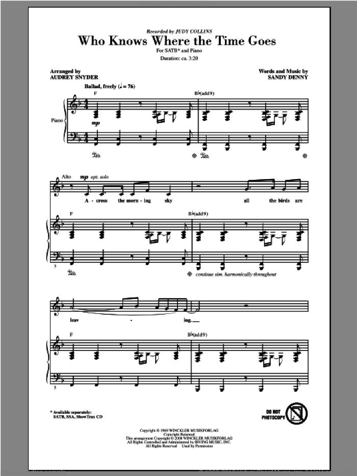 Who Knows Where The Time Goes sheet music for choir (SATB) by Audrey Snyder and Judy Collins, intermediate choir (SATB). Score Image Preview.