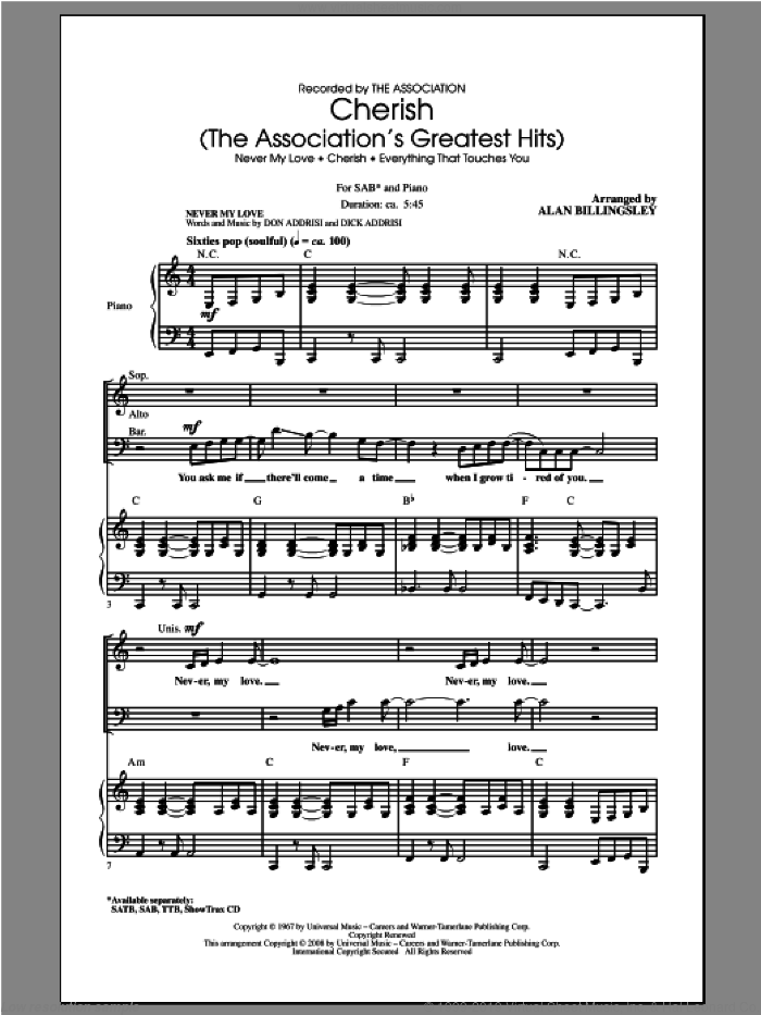 Cherish (The Association's Greatest Hits) sheet music for choir (SAB) by Alan Billingsley and The Association. Score Image Preview.