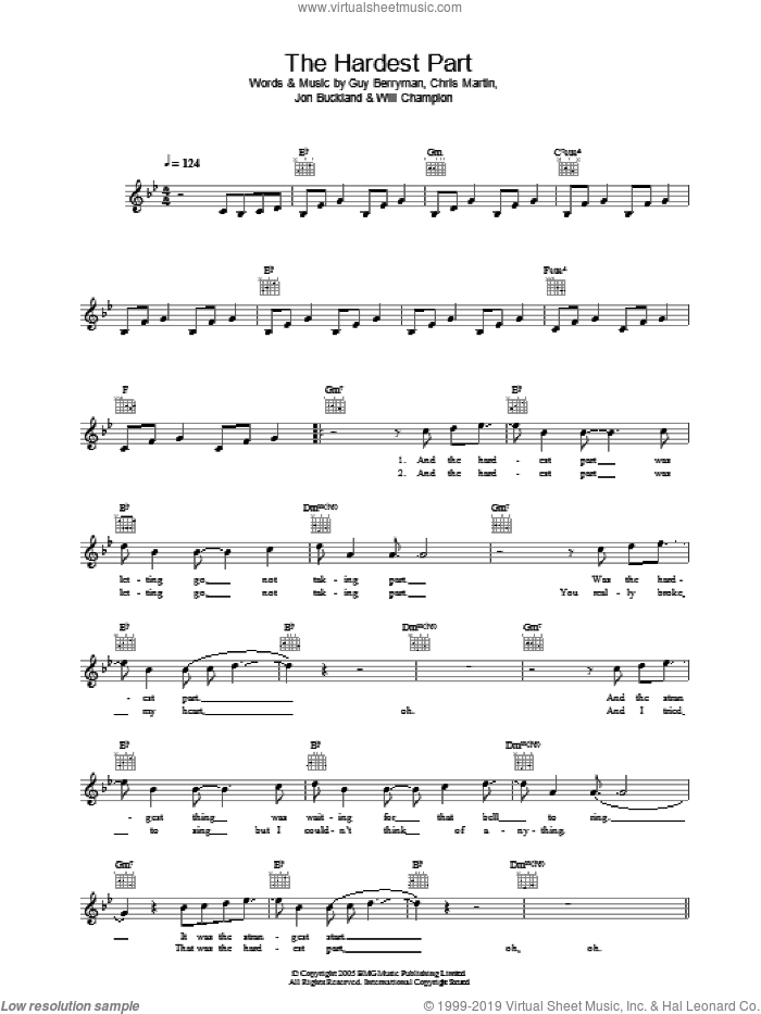 The Hardest Part sheet music for voice and other instruments (fake book) by Will Champion, Coldplay, Chris Martin, Guy Berryman and Jon Buckland. Score Image Preview.