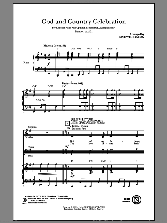 God and Country Celebration (Medley) sheet music for choir (SAB: soprano, alto, bass) by Dave Williamson, intermediate skill level