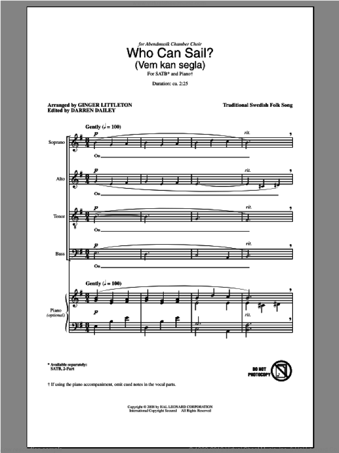 Who Can Sail? (Vem Kan Segla) sheet music for choir (SATB) by Ginger Littleton, intermediate choir (SATB). Score Image Preview.