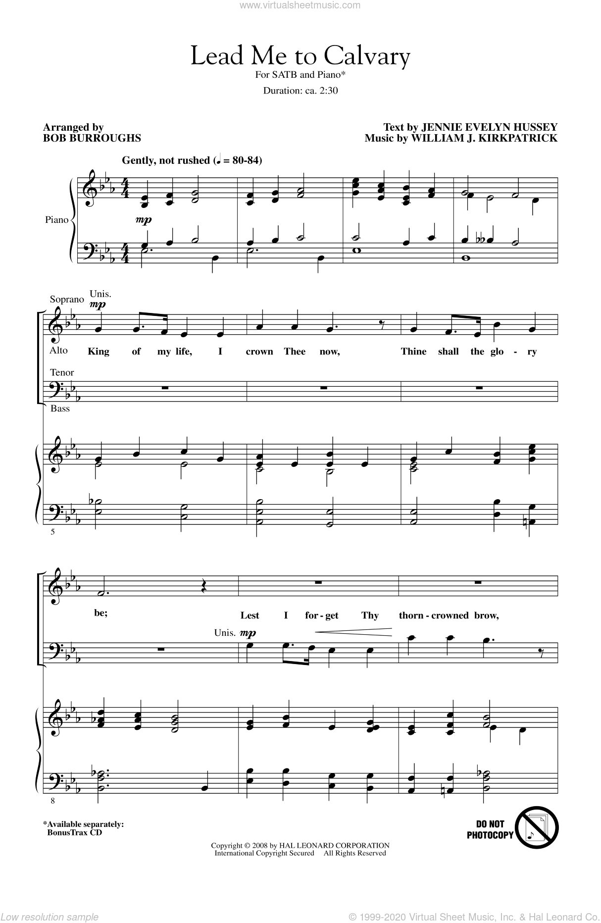 Lead Me To Calvary sheet music for choir (SATB) by Bob Burroughs. Score Image Preview.