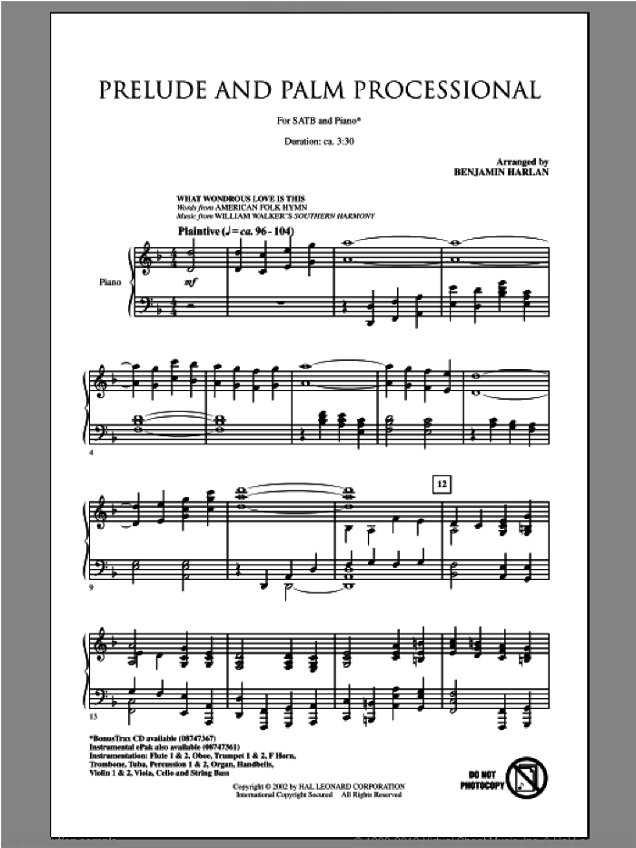 Prelude And Palm Processional sheet music for choir (SATB: soprano, alto, tenor, bass) by Benjamin Harlan, intermediate