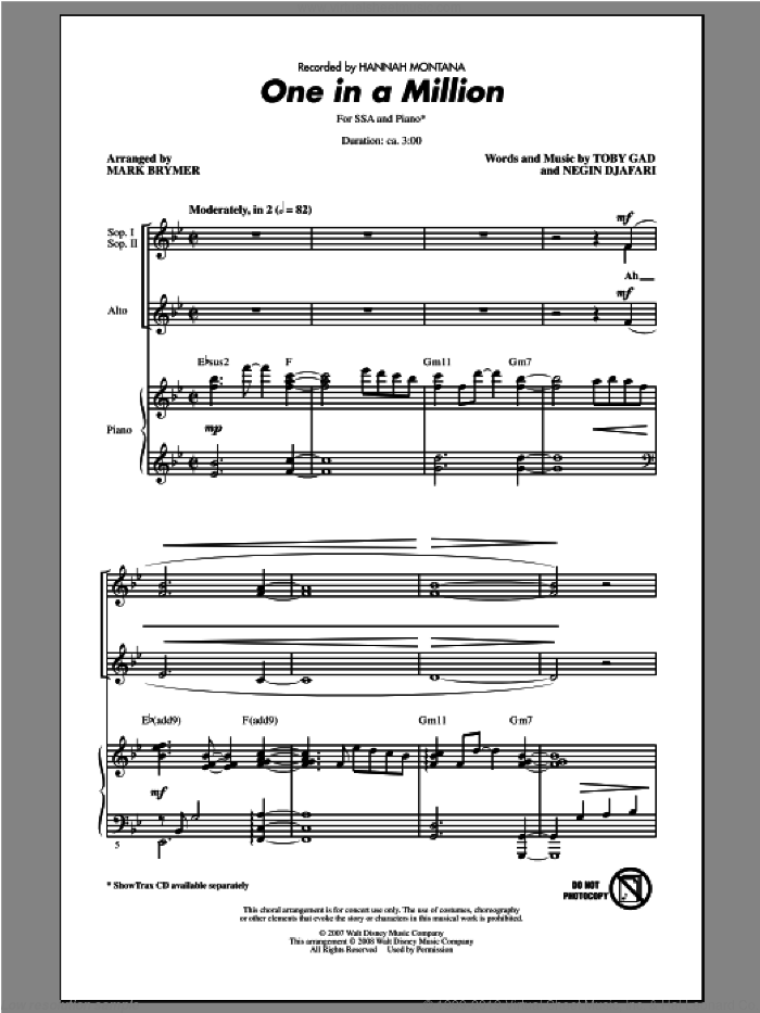 One In A Million sheet music for choir and piano (SSA) by Mark Brymer and Hannah Montana. Score Image Preview.