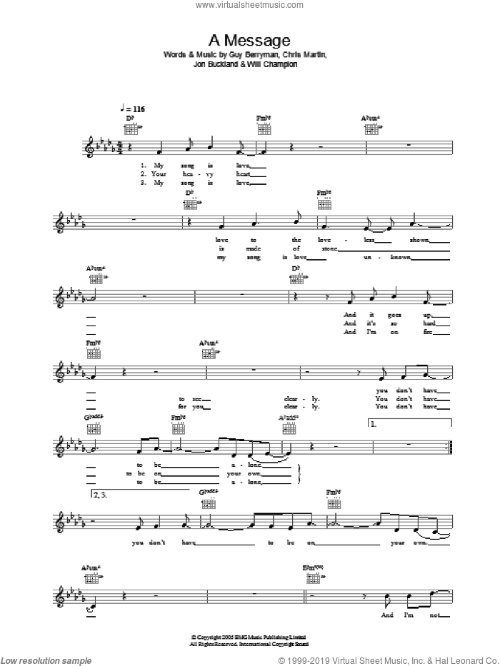 A Message sheet music for voice and other instruments (fake book) by Will Champion, Coldplay, Chris Martin, Guy Berryman and Jon Buckland. Score Image Preview.