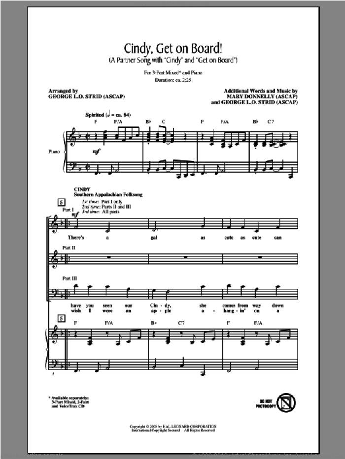 Cindy, Get On Board! sheet music for choir (3-Part Mixed) by Mary Donnelly and George L.O. Strid, intermediate skill level